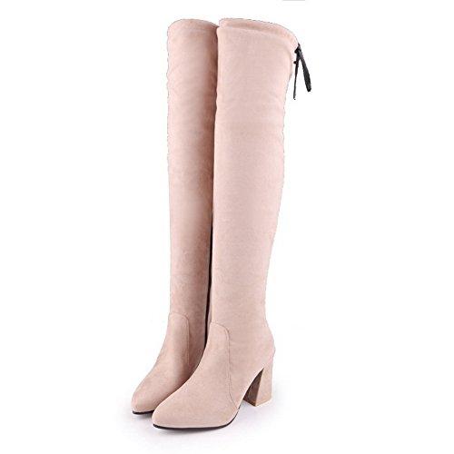 Balamasa Mujeres High-heels Zipper Sólido Con Punta Estrecha Tacones Gruesos Por Encima De La Rodilla Botas De Gamuza Abl09711 Albaricoque