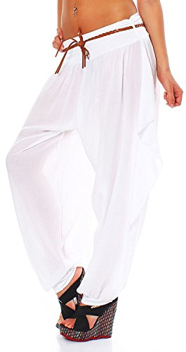 malito Bombacho Boyfriend Cinturón Aladin Harem Pantalón Sudadera Baggy Yoga 1584 Mujer Talla Única blanco