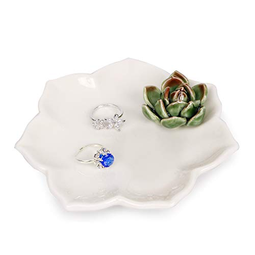(Kimdio Ring Holder Succulents Jewelry Dish Trinket Tray Necklace and Earring Holder for Women Home Decor Birthday Wedding Gift for Mom, Friend,)
