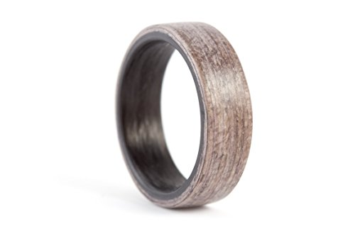Men's black carbon fiber and bentwood ring. Natural wooden grey wood wedding band. Water resistant and hypoallergenic. (00414_7N) by Rosler