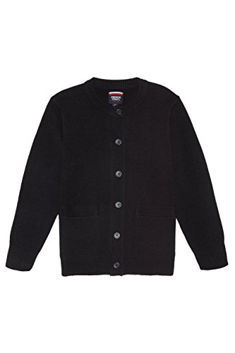 Sweater School Cardigan Uniform (French Toast Big Girls' Anti-Pill Crewneck Cardigan, Navy, L (10/12))