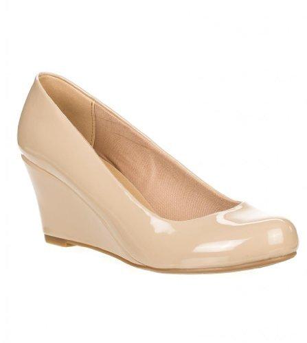 Forever Doris-22 Wedges Pumps-Shoes, Beige Patent, 5