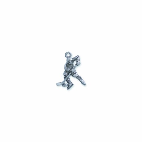 Shipwreck Beads Pewter Hockey Player Charm Pendant, Silver, 20 by 25mm, (Hockey Player Charm)