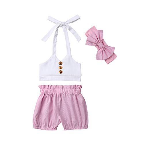 Toddler Baby Girl Halter Ruffled Outfits Set Strap Crop Tops+Pink Shorts Pant with Headband 3 PCS Summer Clothes Set ()