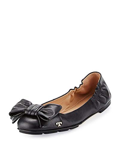 (Tory Burch Divine Bow Driver Ballet Flat Women's Leather Shoes (7.5) Black)