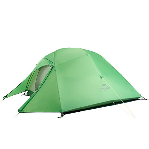 Naturehike Cloud-Up 1, 2 and 3 Person Lightweight Backpacking Tent with Footprint - 4 Season Free Standing Dome Camping Hiking Waterproof Backpack Tents (3P - Green(Upgrade))