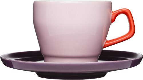 Sagaform POP Stoneware Coffee Cup and Saucer, 8-1/2-Ounce, Pink/Red/Plum by Sagaform