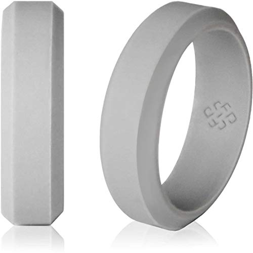 Silicone Wedding Ring Band for Men and Women Light Grey – Size 10 Superior 6mm Rubber Rings – Premium Quality, Style, Safety, Comfort – Ideal Bands for Gym, Safe for Work, Hunting, Sports, and Travels For Sale