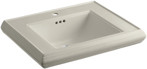 KOHLER K-2259-1-G9 Memoirs Pedestal Bathroom Sink Basin with Single-Hole Faucet Drilling, Sandbar (G9 Memoirs Basin Lavatory)