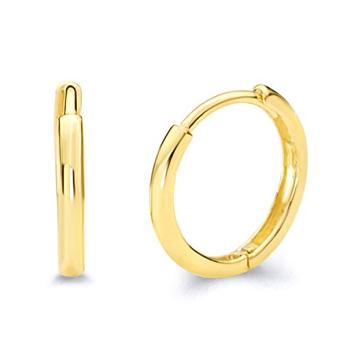 14k Yellow Gold 2mm Thickness Hoop Huggie Earrings (13 x 13 mm) ()