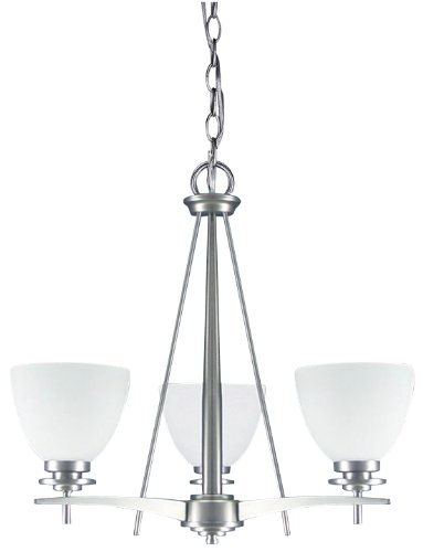 Canarm ICH256A03BPT New Yorker 3-Light Chandelier, Flat Opal Glass and Brushed Pewter -  - kitchen-dining-room-decor, kitchen-dining-room, chandeliers-lighting - 31D7jQWMIWL -