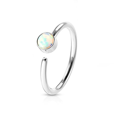 Surgical Steel Opal Set Hoop Ring - Perfect for Nose and Ear Piercings (White Opal)