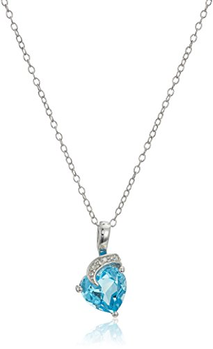 Sterling Silver Heart Shaped Blue Topaz and Diamond Accent Pendant Necklace, (Heart Shaped Topaz)
