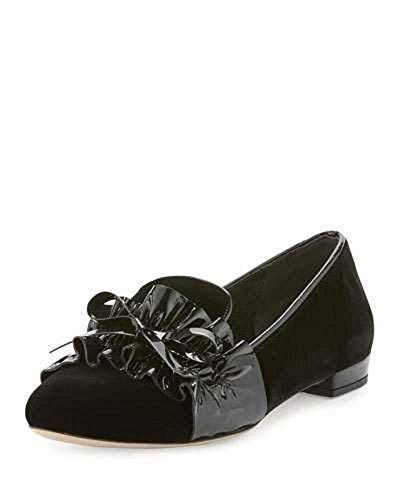 Miu Miu Ruched-Patent Velvet Loafer, Black $595 Size 40