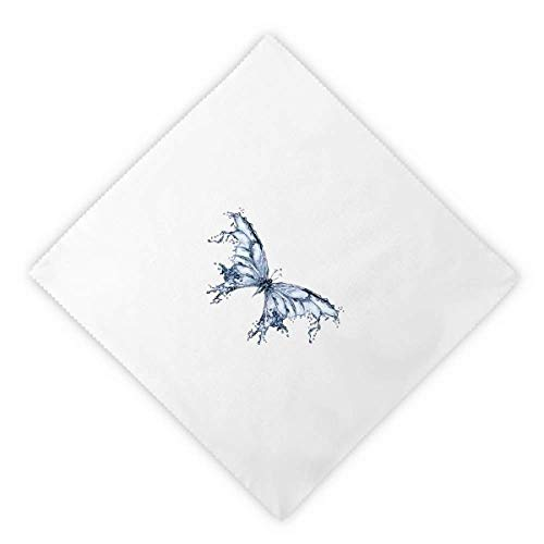 Butterfly Clothing Kite (DIYthinker Blue Butterfly Kite Dinner Napkins Lunch White Reusable Cloth 2pcs)