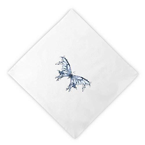 Kite Clothing Butterfly (DIYthinker Blue Butterfly Kite Dinner Napkins Lunch White Reusable Cloth 2pcs)