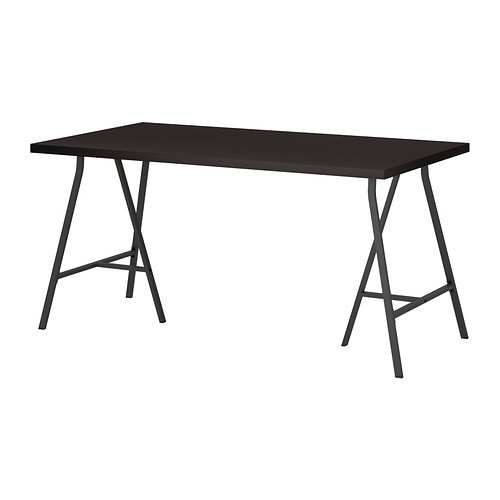 Ikea Black-brown Computer Table with Gray trestle 59x29 1/2