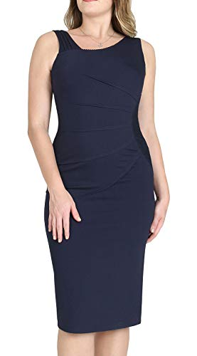 9a2678c54c60 Dilanni Women s 50s 60s Vintage Sexy Fitted Office Pencil Dress Blue XS