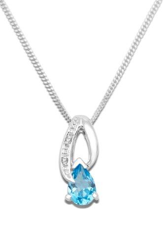 Miore - Collier Femme - Or blanc 375/1000 (9 carats) 1.71 gr - Topaze Bleue - Diamant Brillant 0.0066 carats - 45 cm