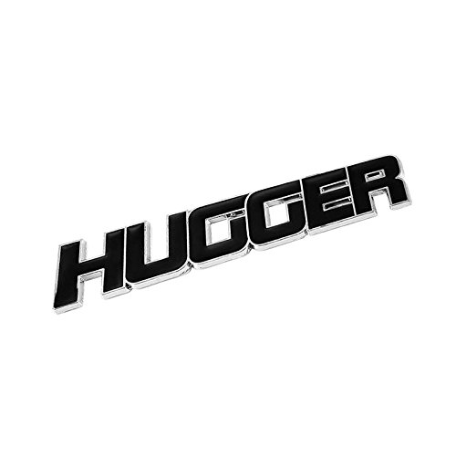 UrMarketOutlet HUGGER Black/Chrome Aluminum Alloy Auto Trunk Door Fender Bumper Badge Decal Emblem Adhesive Tape Sticker
