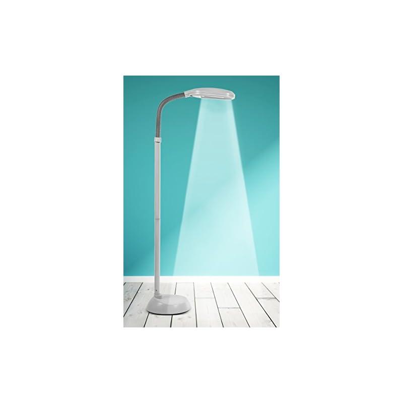 Kenley Natural Daylight Floor Lamp - Tall Reading Task Craft Light - 27W Full Spectrum White Bright Sunlight Standing Torchiere for Living Room, Bedroom or Office - Adjustable Gooseneck Arm - Gray