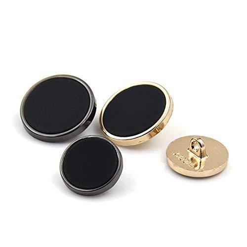 Lvcky gambo nero superficie piana bottone rotondo con bordo in metallo per uniforme Blazer tuta, pezzi