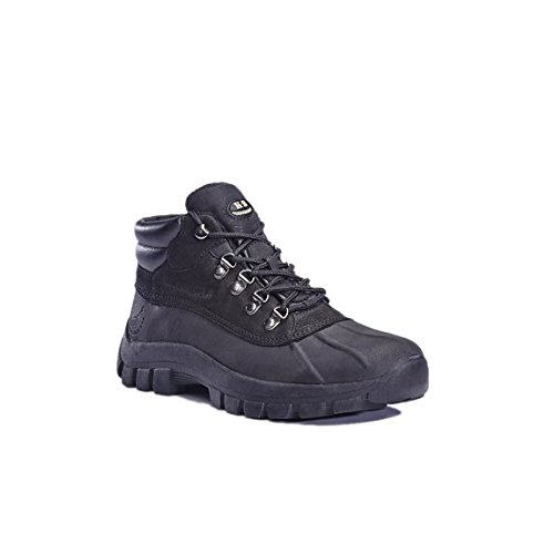 kingshow Men's Snow Boots Genuine Leather Waterproof Slip and Oil Resistance Black Size 9