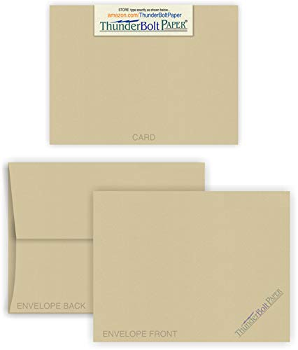 5X7 Blank Cards with A-7 Envelopes - Desert TAN Fiber - 25 Sets - Matching Pack - Invitations, Greeting, Thank Yous, Notes, Holidays, Weddings, Birthdays - 80# Cover Cardstock
