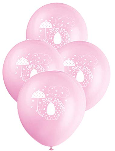 12 Latex Pink Umbrellaphants Girl Baby Shower Balloons, 8ct