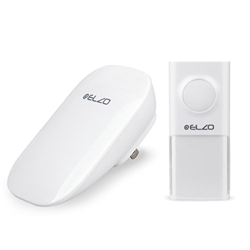 Elzo Wireless Doorbell [No Battery Required & 500ft Range], Plugin Door Chimes/Bells/Recievers, Self Powered IP55 Water Resistant Push-Button/Transmitter - 25 musical tones & 3 Volume Levels (White) (People Ringer)