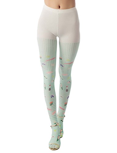 iB-iP Women's hosiery cute sushi cartoon nylon plaid Mid Waist Pantyhose Tights, Size: One Size, Dusty Green & Light Yellow