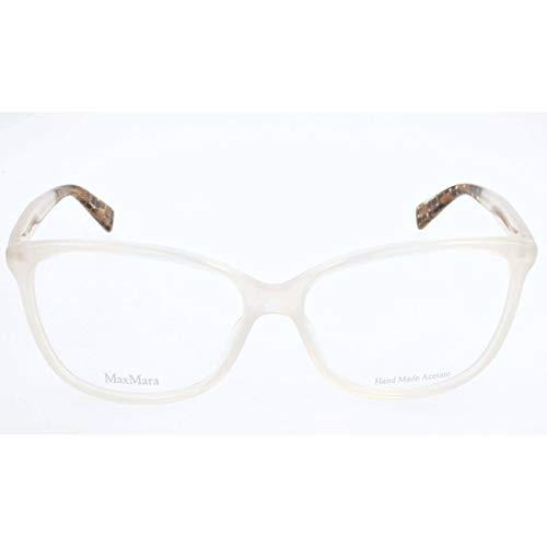 - Max Mara Plastic Rectangular Eyeglasses 56 0BVE Opal Caramel