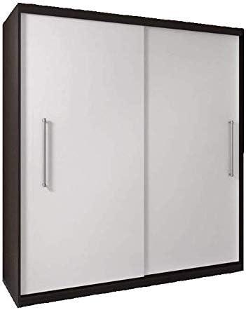 Armario para dormitorio, 2 puertas correderas, 204 cm, parte frontal blanca, laterales Cambridge: Amazon.es: Hogar