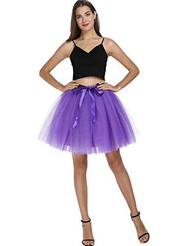Women's High Waist Princess Tulle Skirt Adult Dance Petticoat A-line Short Wedding Party Tutu Purple -