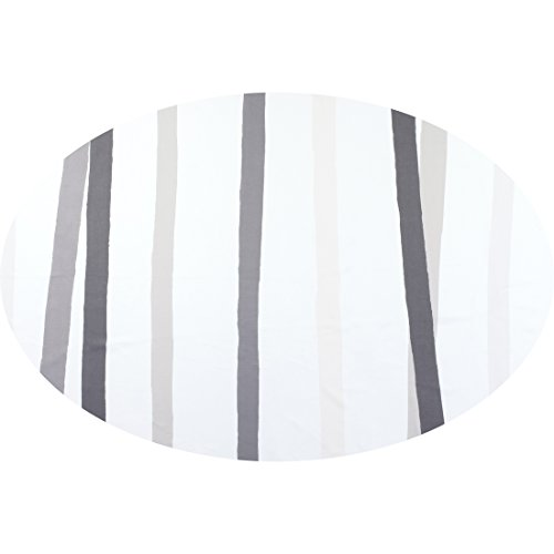 Gray Striped Cotton Italian (Huddleson Cinta Grey & White Stripe Pure Linen Tablecloth 80x122 Oval)