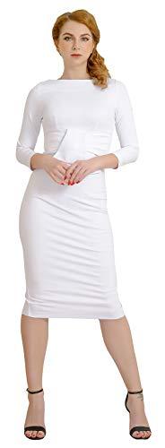 Marycrafts Womens Elegant Lady Vintage Evening Wiggle Midi Dress 12 Off White