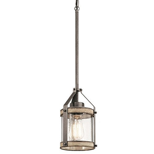 Kichler Barrington 5.5-in Anvil Iron and Driftwood Rustic Mini Seeded Glass Cylinder Pendant by KICHLER (Image #2)