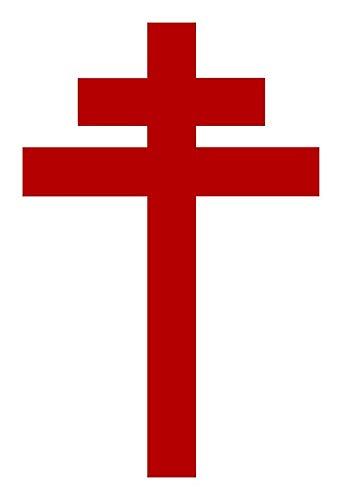 ICK Vinyl Cross of Lorraine - Knights Templar - Holy Grail - Joan of Arch - The Crusades Sticker Decal Car Bumper Sticker ()