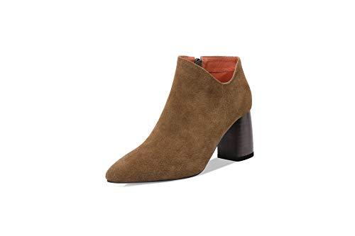 BalaMasa Womens Structured High-Heels Solid DarkGreen Urethane Boots ABM13350-5 B(M) US