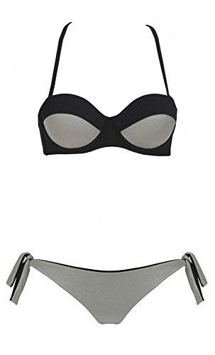Manzana proibita–Bikini para mujer Bañador Playa Baño Sujetador Push Up acolchado gris ferretto Moda gris