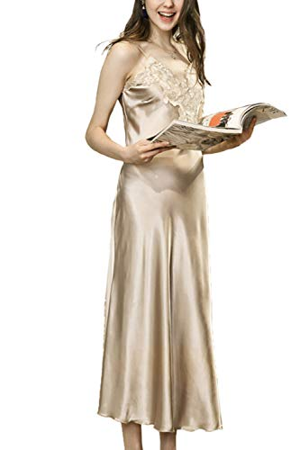 Asherbaby Women's Nightdress Lace Satin Nightgowns Long Chemise Sleepwear Camel US 0-2=Tag M
