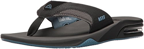 Reef Men's Fanning Flip-Flop, Grey/Light Blue, 9 M US