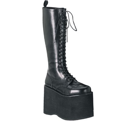Colour Platform Pu Demonia 602 Blk MEGA Black Boots aqOBIOS