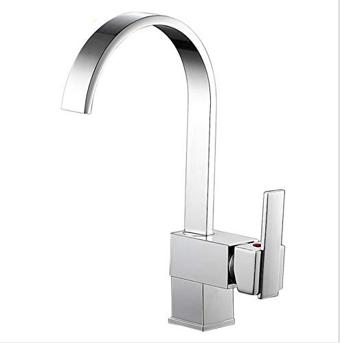Sink Basin Lever Mixer Tap Kitchen Faucet Copper Square Kitchen Hot and Cold Water Faucet