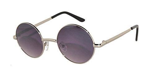 Round Retro Hippie Hipster Vintage Circle Style Tint Sunglasses Metal Silver Frame Smoke Lens Owl - Sunglasses Men Hipster