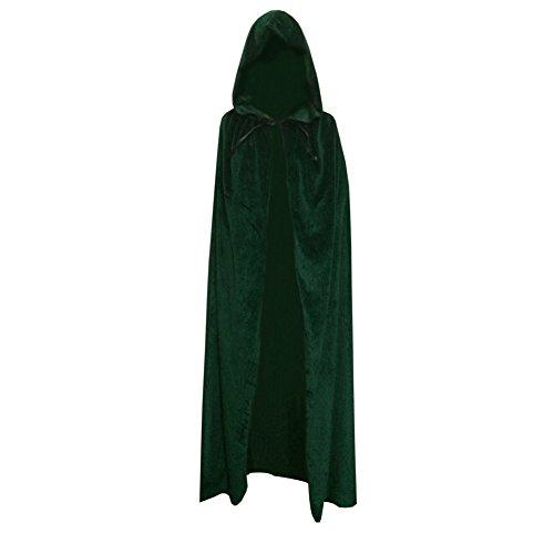 [ESHOO Halloween Easter Adult Costume Cape Hooded Velvet Cloak Robe Costume] (Purple Hooded Robe Adult Costumes)