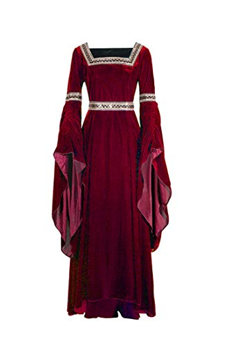NSPSTT Women Medieval Renaissance Dress Victorian Cosplay Costume Long Sleeve (Medium, Red)