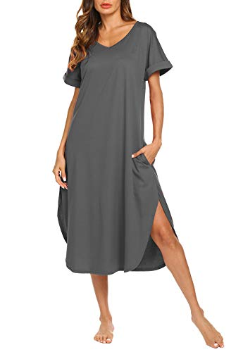 AVIIER Womens Sleepwear Loose Fit Nightgown Full Length Sleep Dress Gown (Gray, Small)