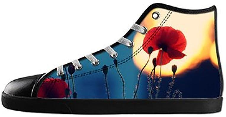 Customized Poppy Flower New Canvas Sneaker Shoes for Men