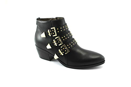 Femme 6503 Nero Boucles Nero Giardini Noires Zip Bottines Talon Bottines wTx1RpnqHI